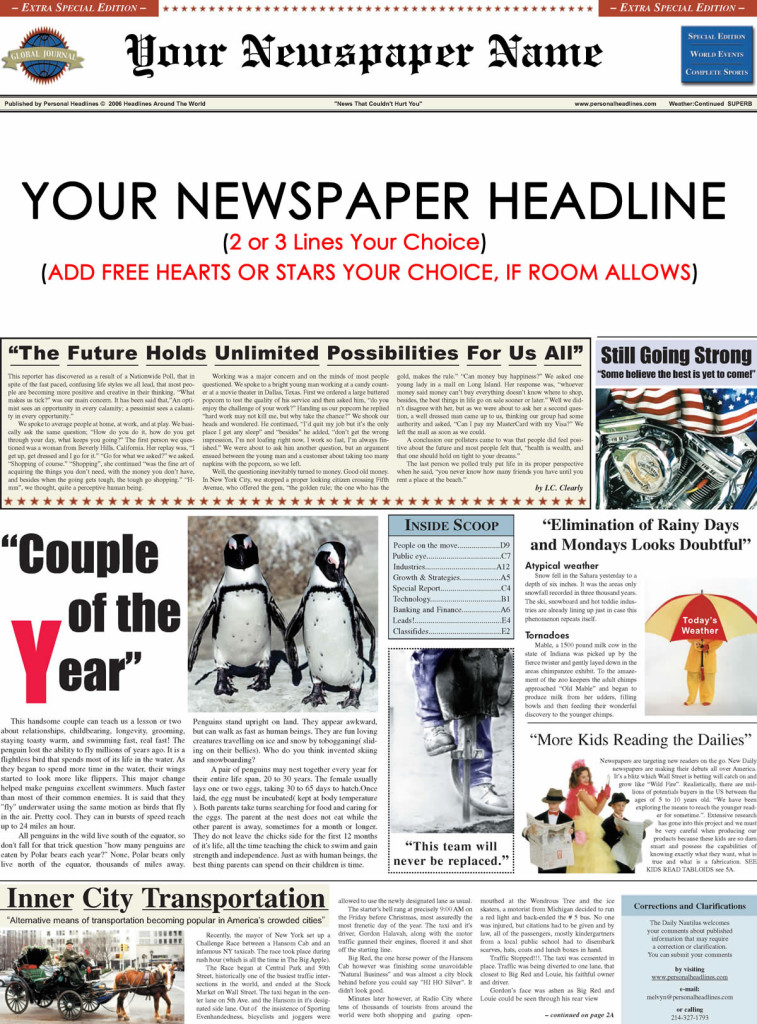 Personalized Newspaper Sample | Personal Headlines